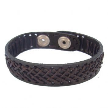 UNISEX 15mm STITCHED LEATHER CUFF BRACELET -BLET-LeatherCuff-15mm