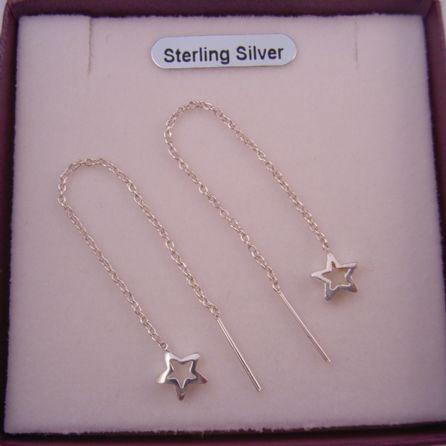 STERLING SILVER STAR CHARM THREAD EARRINGS CHAIN DESIGN