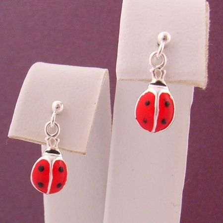 BABY STERLING SILVER 2mm BALL and 5mm LADYBUG LADYBIRD CHARM BALL STUD EARRINGS