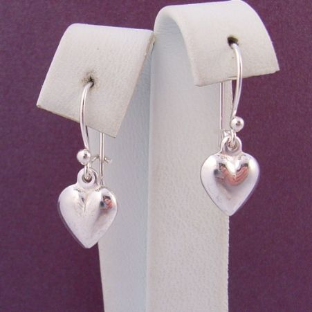 STERLING SILVER 8mm HEART CHARM BALL and SAFETY HOOK EARRINGS