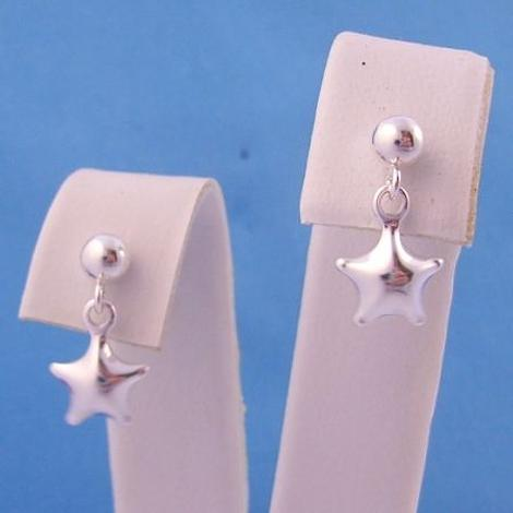 STERLING SILVER 4mm BALL and 7mm STAR CHARM BALL STUD EARRINGS