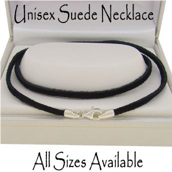 STERLING SILVER BLACK SUEDE NECKLACE CHAIN