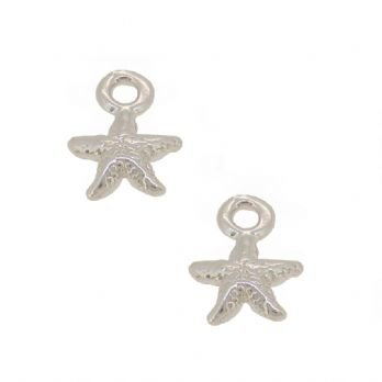 STERLING SILVER 7mm TWO STARFISH for SLEEPER EARRING CHARMS