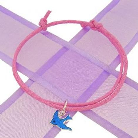 STERLING SILVER BLUEBIRD CHARM COTTON CORD ADJUSTABLE BRACELET -BLET-CC-Bluebird-Cord