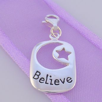 STERLING SILVER MOON STAR BELIEVE AFFIRMATION CLIP ON CHARM -FM-H20-1105JC