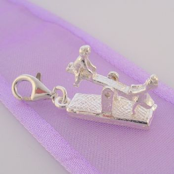 STERLING SILVER CHILDREN ON MOVING SEE SAW CLIP CHARM -HR1671