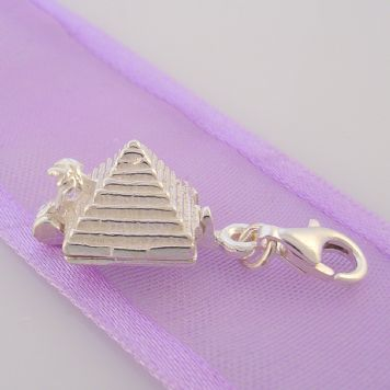 STERLING SILVER EGYPTIAN PYRAMID OPENS CLIP ON CHARM - HR1841