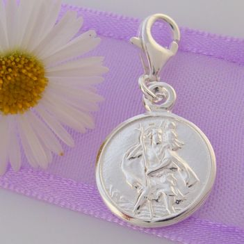 STERLING ROUND ST CHRISTOPHER TRAVEL SAINT CLIP CHARM - HR2278