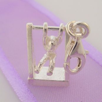 STERLING SILVER 10mm CHILD ON MONKEY BARS CLIP ON CHARM -HR2881