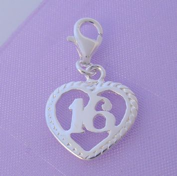 STERLING SILVER 14mm 16th BIRTHDAY CLIP ON CHARM - HR2892