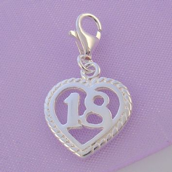 STERLING SILVER 14mm 18th BIRTHDAY CLIP ON CHARM - HR2893