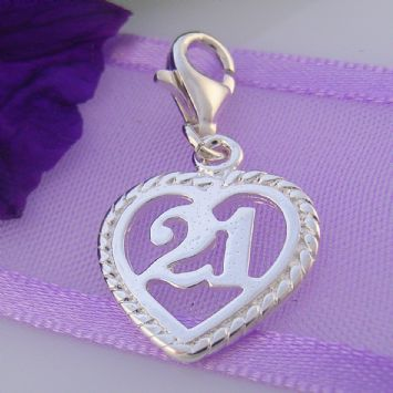 STERLING SILVER 14mm 21st BIRTHDAY CLIP ON CHARM - HR2894