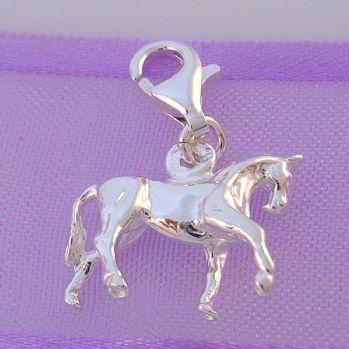 STERLING SILVER 16mm RIDING HORSE CLIP ON CHARM - HR856