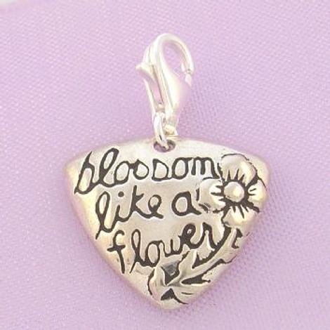 STERLING SILVER BLOSSOM LIKE A FLOWER CLIP ON CHARM - TI-01782