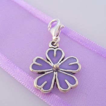 STERLING SILVER 15mm PURPLE DAISY FLOWER CLIP ON CHARM - TI-02058