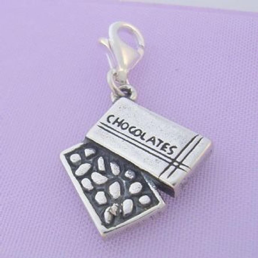 STERLING SILVER BOX OF CHOCOLATES CLIP ON CHARM - TI-09429