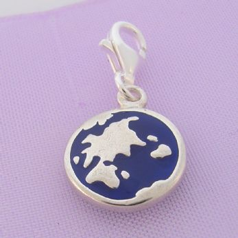 STERLING SILVER DOUBLE SIDED MAP OF WORLD CLIP ON CHARM - TI-09433