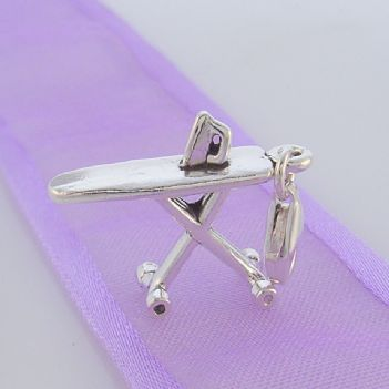 STERLING SILVER IRON AND IRONING BOARD 20mm CLIP ON CHARM - TI-09579