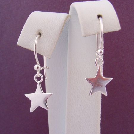 STERLING SILVER 9mm STAR CHARM BALL and SAFETY HOOK EARRINGS