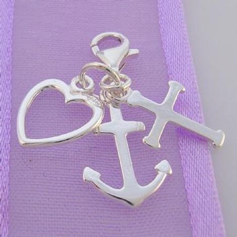 STERLING SILVER 10mm FAITH HOPE CHARITY CLIP ON CHARM - HR594