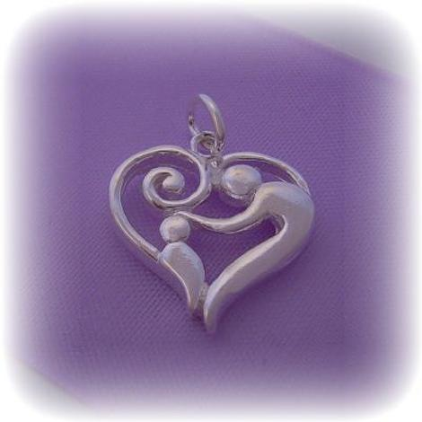 STERLING SILVER 16MM MOTHER BABY CHILD CHARM PENDANT