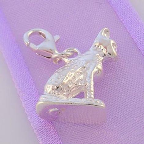 STERLING SILVER EGYPTIAN BAAST CAT CLIP ON CHARM - HR1857