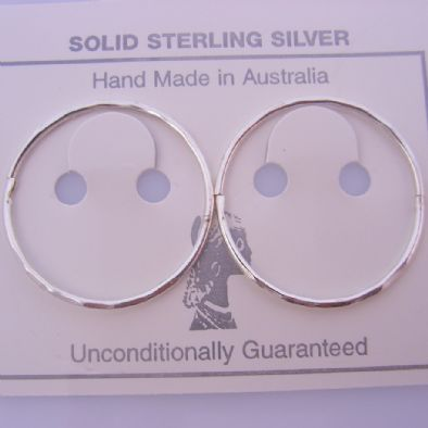 STERLING SILVER LARGE SIZE 25mm FACET CUT HINGED SLEEPER EARRINGS