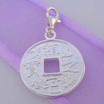 STERLING SILVER CHINESE COIN GOOD LUCK CLIP ON CHARM HR3404