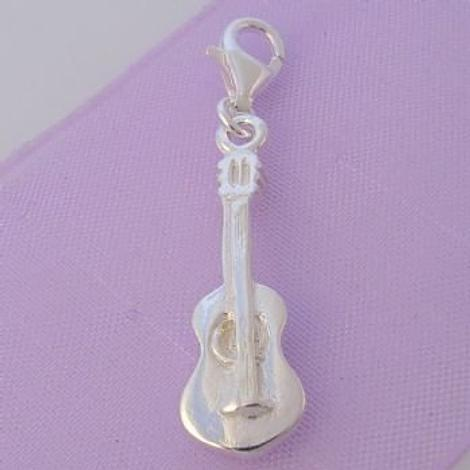 STERLING SILVER GUITAR MUSIC CLIP ON CHARM - HR721