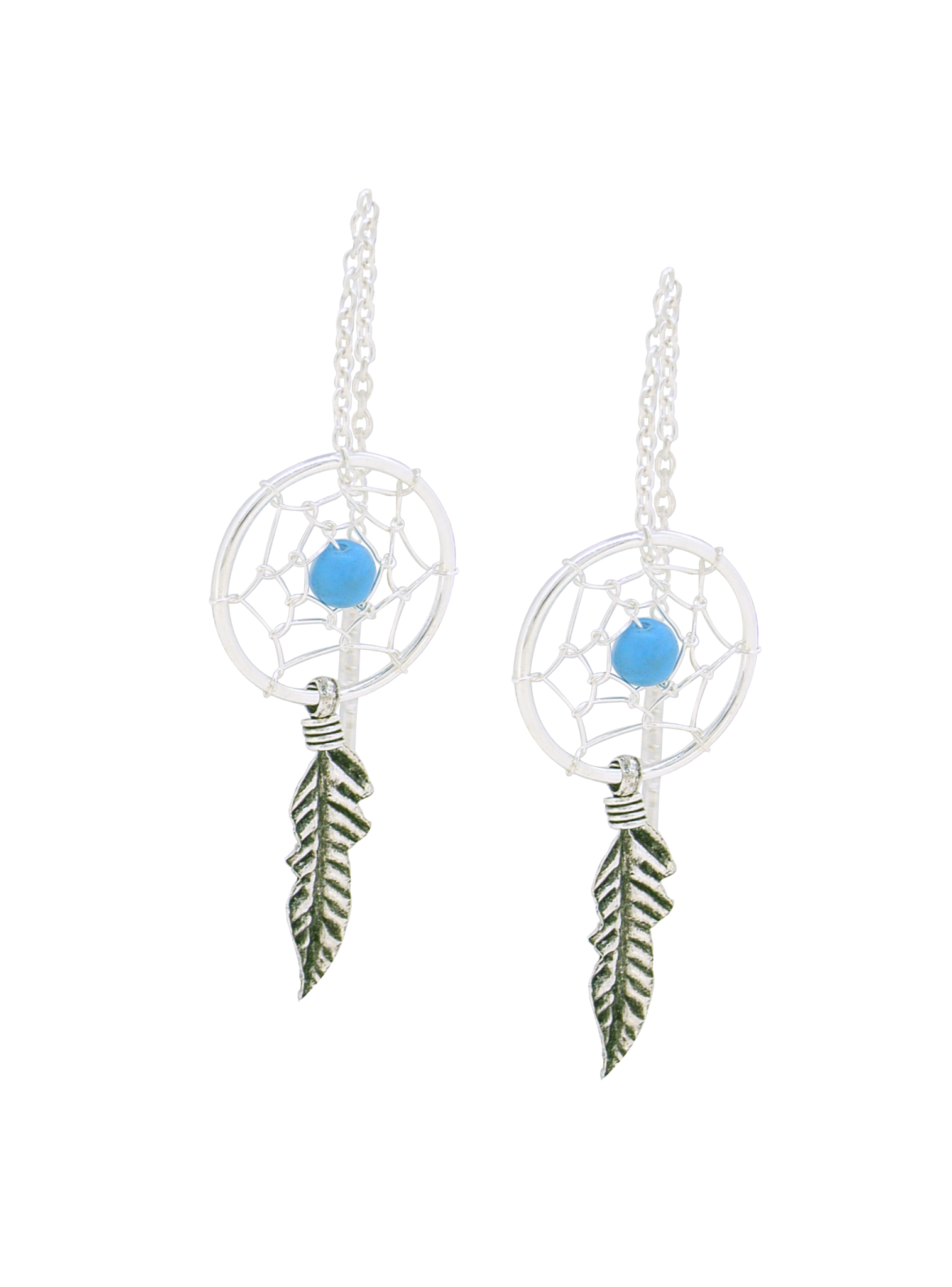 Sterling Silver Dreamcatcher Thread Earrings