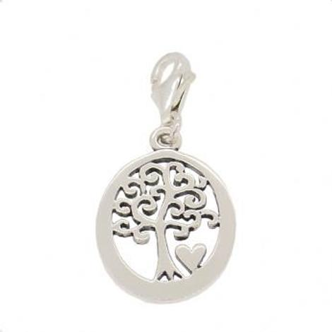 STERLING SILVER 14mmOVAL FAMILY TREE OF LIFE CLIP ON CHARM PENDANT