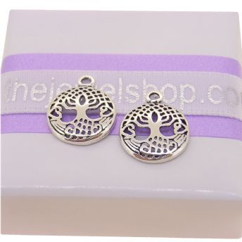STERLING SILVER 11mm CELTIC TREE OF LIFE TWO CHARMS for SLEEPER EARRINGS