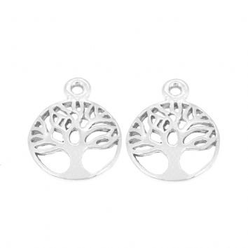 STERLING SILVER 12mm TREE OF LIFE TWO CHARMS for SLEEPER EARRINGS