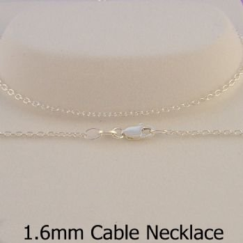STERLING SILVER 1.6mm CABLE CHAIN NECKLACE -N-925-CA40