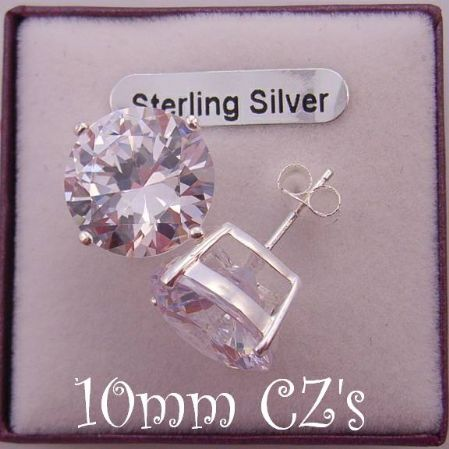 STERLING SILVER 10mm MANMADE DIAMOND CZ CUBIC ZIRCONIA STUD EARRINGS