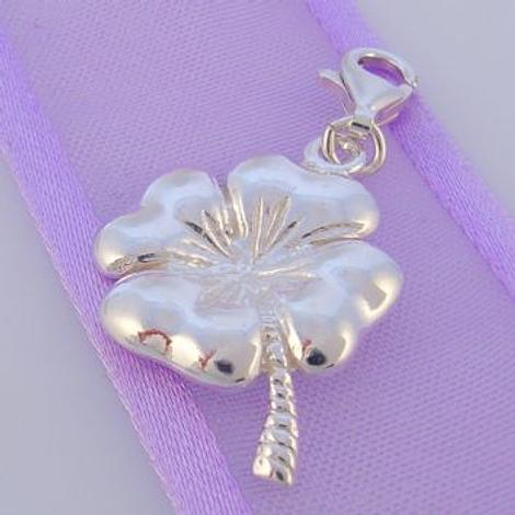 STERLING SILVER 17mm LUCKY 4 LEAF CLOVER CLIP ON CHARM - HR2716