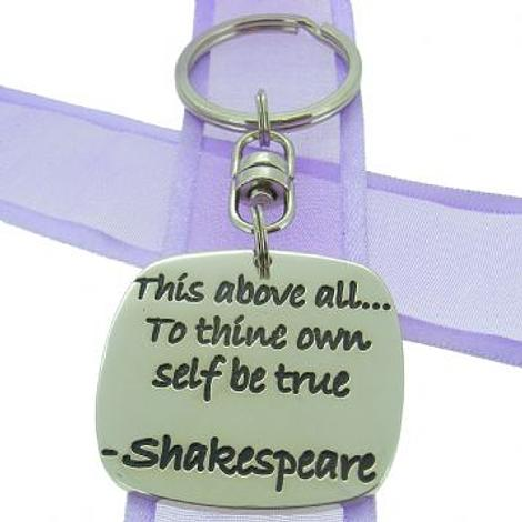 SQUARE POETIC AFFIRMATION KEY RING - This above allÖto thine own self be true - KC-1-30