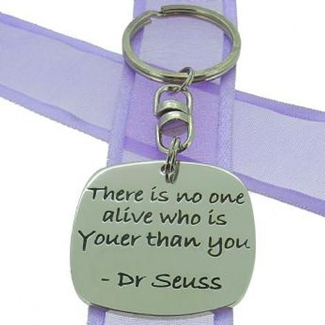 SQUARE POETIC AFFIRMATION KEY RING - There is no one alive who is Youer than You - KC-1-38