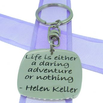 SQUARE POETIC AFFIRMATION KEY RING - Life is either a daring adventure or nothing - KC-1-49
