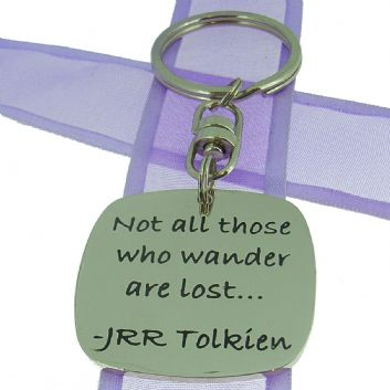 SQUARE POETIC AFFIRMATION KEY RING - Not all those who wander are lost - KC-1-50