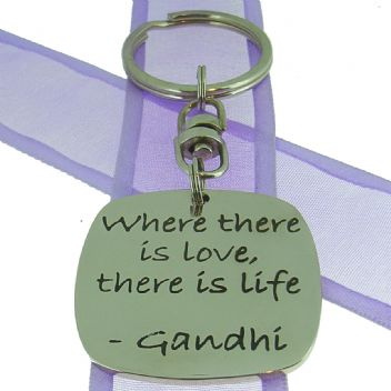 SQUARE POETIC AFFIRMATION KEY RING - Where there is love, there is life - KC-1-68