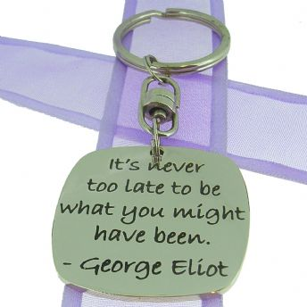 SQUARE POETIC AFFIRMATION KEY RING - It's never too late to be what you might have been- KC-1-72