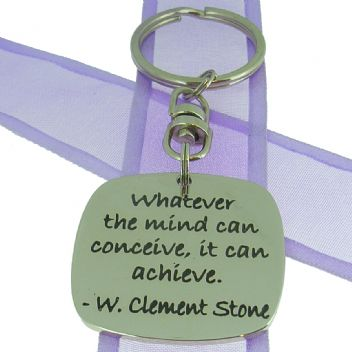 SQUARE POETIC AFFIRMATION KEY RING - Whatever the mind can conceive, it can achieve - KC-1-73