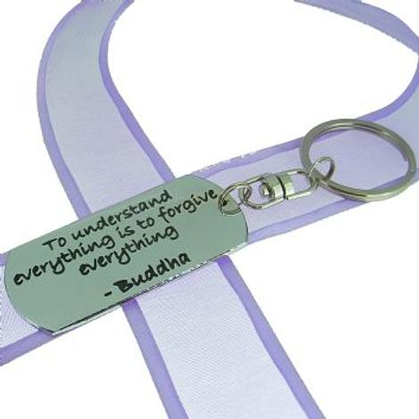 RECTANGLE POETIC AFFIRMATION KEY RING - To understand everything is to forgive everything- KC-2-37