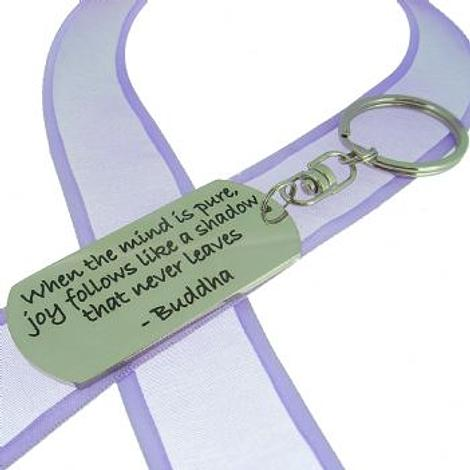RECTANGLE POETIC AFFIRMATION KEY RING - When the mind is pure joy follows like a shadow that nevr leaves- KC-2-42