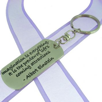 RECTANGLE POETIC AFFIRMATION KEY RING - Imagination is everything. It is the preview of life's coming attractions- KC-2-55