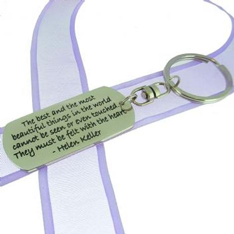 RECTANGLE POETIC AFFIRMATION KEY RING - the best and the most beautiful things in the world cannot be seen or even touched. they must be felt with the heart- KC-2-57
