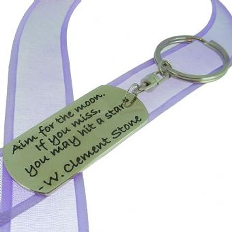 RECTANGLE POETIC AFFIRMATION KEY RING - Aim for the moon, if you miss you may hit a star- KC-2-74
