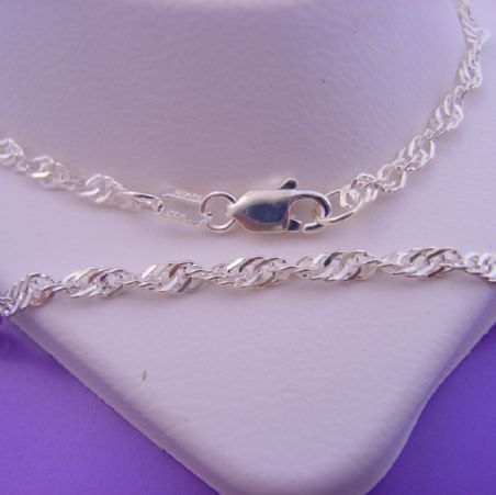 STERLING SILVER SERPENTINE SINGAPORE ROPE TWIST 50cm NECKLACE