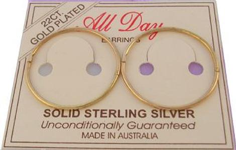 EXTRA LARGE 23mm 22ct Gold Plated HINGED SLEEPER EARRINGS